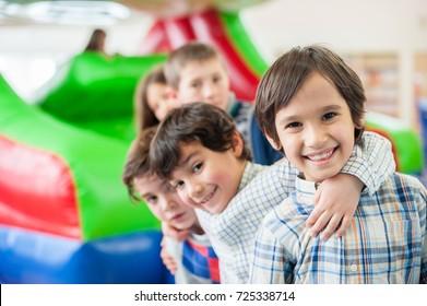 Happy kids at indoor playground