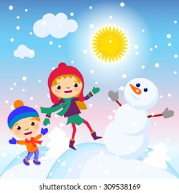 Happy kids playing with snow. Can be used for retro christmas card. illustration.