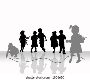 Happy kids playing.White and black background