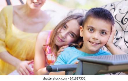 Happy kids posing