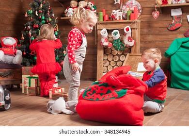 Happy kids preparing for Christmas