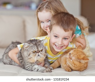 Happy kids with their pets - a cat