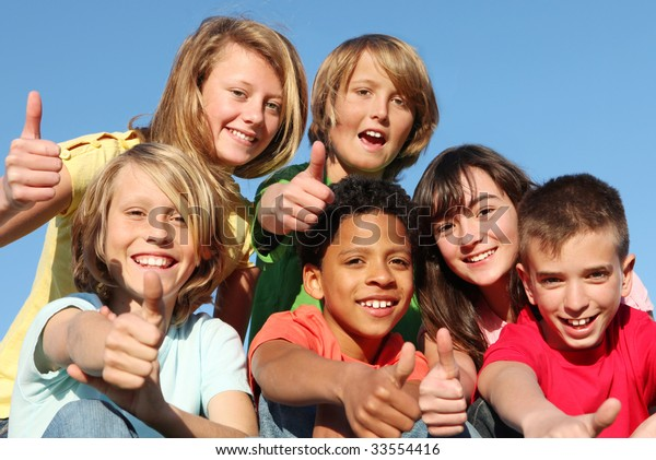 happy kids with thumbs up