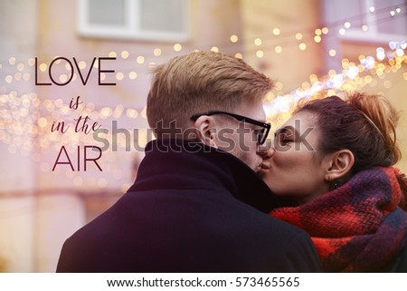 Happy Kissing Couple Street On Background Stock Photo Edit Now
