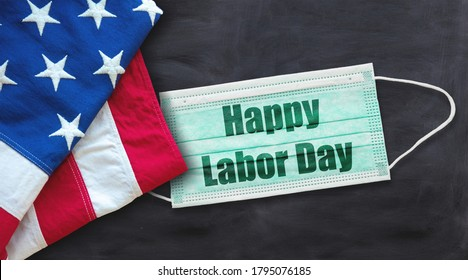 Happy Labor Day 2020, coronavirus time. National american holiday, USA flag, covid19 protective mask with text on black color background. Festive poster, banner