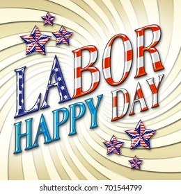 Happy Labor Day, 3D, American Stars, golden twist background, Bright colors, Bright shiny text.