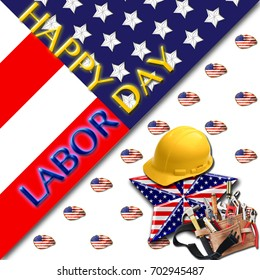 Happy Labor Day, 3D, Bright colors, Bright shiny text. American Holiday in the colors red, white, yellow  and blue.