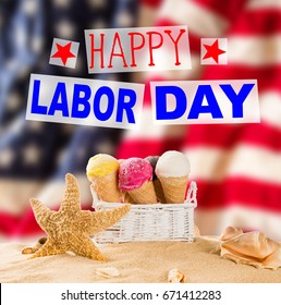 Happy Labor day banner, american patriotic background