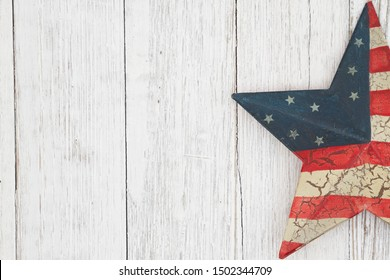 Happy Labor Day Greeting, USA patriotic old star on a weathered wood background with text Happy Labor Day