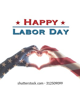 Happy labor day with United States of America USA flag pattern on people hands in heart shape