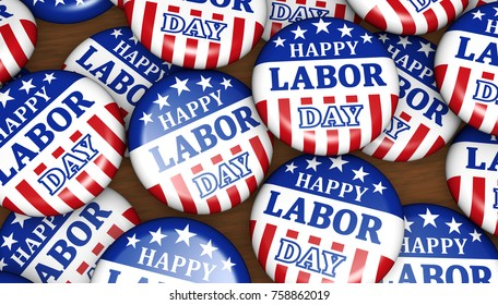 Happy labor day US national holiday concept with sign, letters and USA flag symbol on badges 3D illustration.