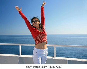 Happy lady on liner on seascape background