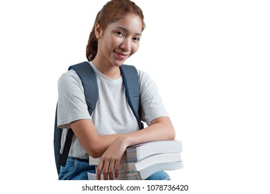 Happy lady university student with books. Beautiful asian model in casual attire. Isolated in white background.
