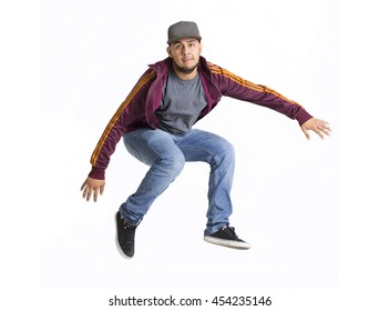 Happy latin brown man jumping on white background