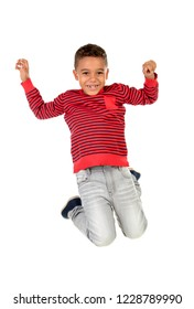 Happy latin child jumping isolated on a white background
