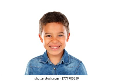 Happy latin child looking at camera isolated on a white background