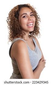 Happy latin woman in a grey shirt