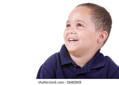 Happy latino boy portrait isolated against white background