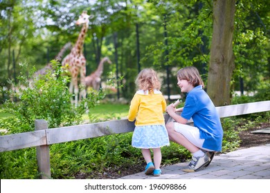 Happy laughing boy and his toddler sister cute little girl with curly hair wearing a dress having fun together in a zoo watching giraffes and other animals on a day trip during summer vacation