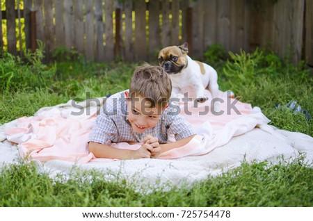 Happy Laughing Caucasian Boy French Bulldog Stock Photo Edit Now