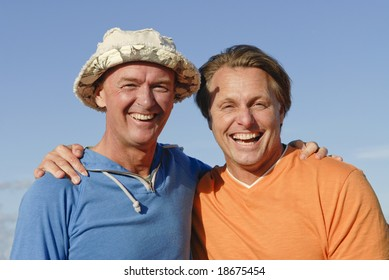 A happy laughing gay couple