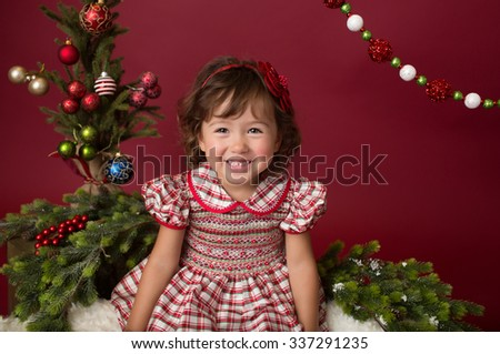 bb098a5c9 Happy Laughing Girl Child Christmas Dress Stock Photo (Edit Now ...