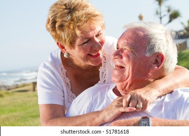 happy laughing senior couple
