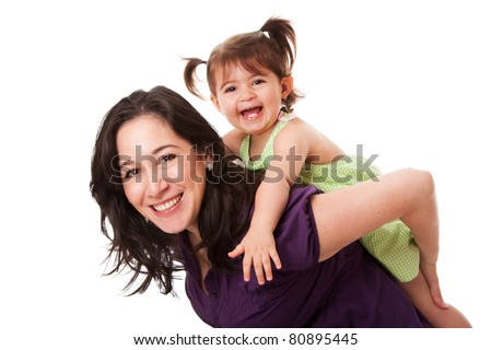 d3a079f6f77 Happy laughing toddler girl playing with mom doing a fun piggyback ride,  isolated.