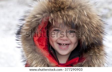 731b9c2f7 Happy Laughing Toddler Girl Wearing Fur Stock Photo (Edit Now ...