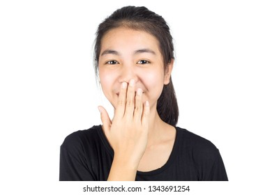 Happy laughing woman in white background