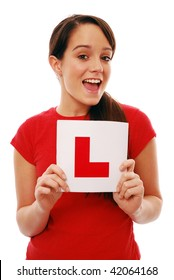 Happy learner driver on white background