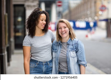 happy lesbian couple in the street