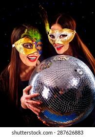Happy lesbians women dancing on party