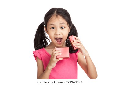 Happy little asian girl surprise with red gift box  isolated on white background