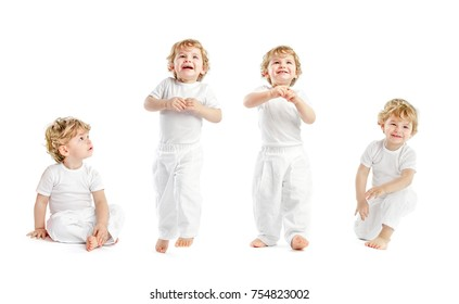 Happy little Baby Boy dressed in all white clothes, Sitting and Standing isolated on White Background