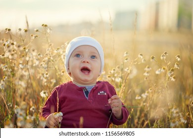 Happy little baby boy sitting and smiling on a meadow on the nature in summer sunny day