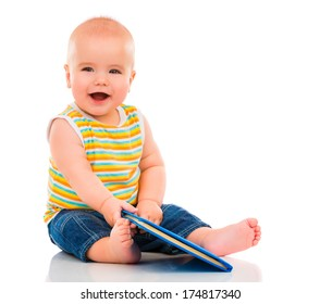Happy Little Baby isolated on white background.