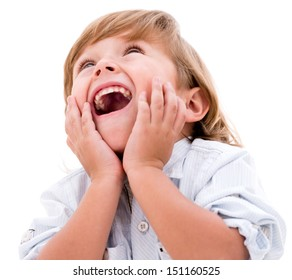 Happy little boy looking very surprised - isolated over white background