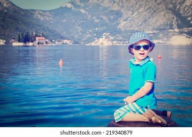 happy little boy on sea vacation