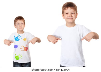 Happy little boy pointing his fingers on a clean t-shirt, and sad little boy pointing his fingers on a dirty t-shirt. Isolated in white.