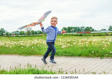 Happy little boy smiling running across park with kite flying. Caucasian child fun playing outdoors on summer or spring day.Joyful childhood. Lifestyle.Attractive child actively recreation on street.