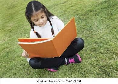 Happy little braided hair girl on green grass