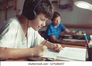 Happy little caucasian schoolboys doing homework at home