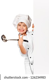 Happy little Chef girl with ladle. Isolated over white background. Gourmet