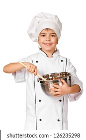 Happy little Chef girl with ladle girl having fun making cookies. Isolated over white background. Gourmet