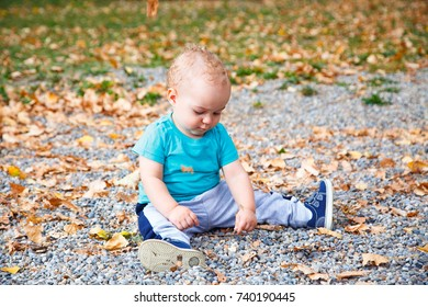 happy little child, baby boy laughing and playing in the autumn on the nature walk outdoors