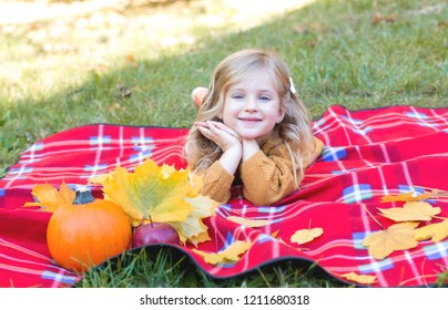 Happy little child, baby girl laughing and playing in the autumn on the nature walk . Family concept