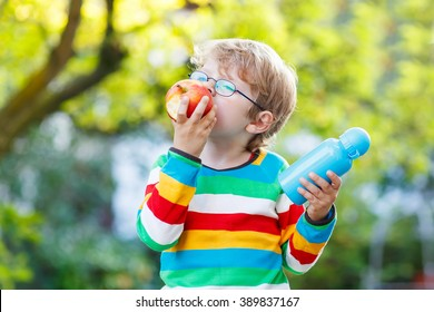 Happy little child with books, apple and drink bottle on his first day to elementary school or nursery. Outdoors.  Back to school, kids, lifestyle concept. Boy eating fruit