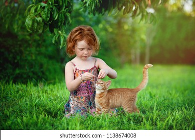 Happy little child with red cat. Girl playing with pet outdoors on the garden. Summer nature