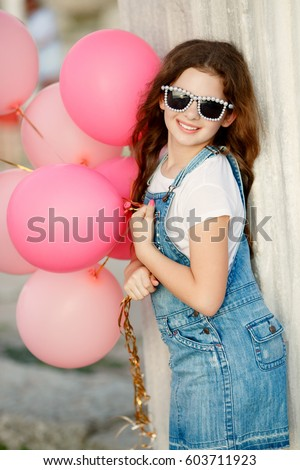 aeb372f9a Happy Little Girl Balloons Summer Portrait Stock Photo (Edit Now ...